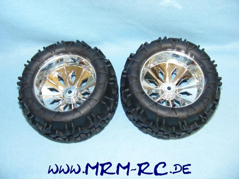 2 Räder Rad Reifen Felgen XTC Reely Big Survivor Monstertruck 1:5 NEU FG Carson