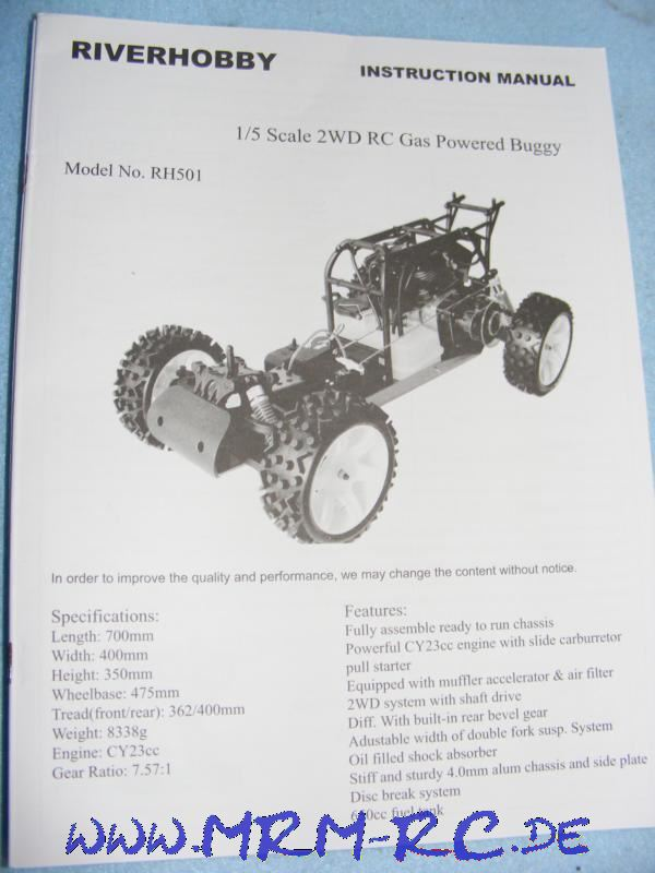 Bedienungsanleitung Anleitung Riverhobby RH501 Buggy