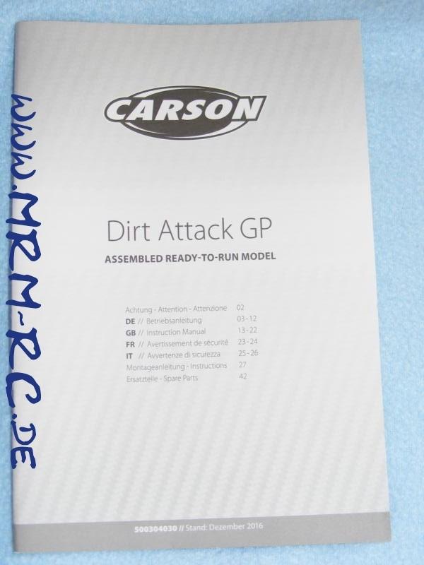 Bedienungsanleitung Anleitung Carson dirt Attack GP 1:6 500304030